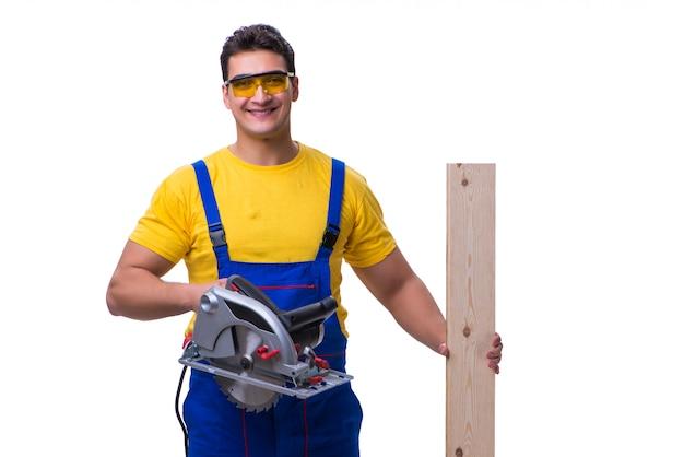 Плотник носить комбинезон с циркулярной пилой, изолированные на белом