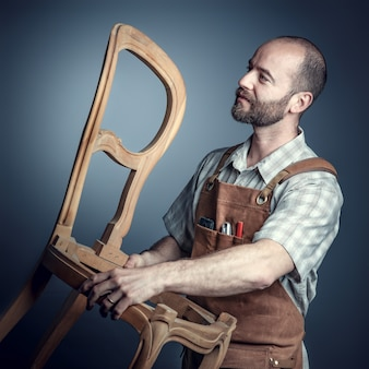 Carpenter with chair