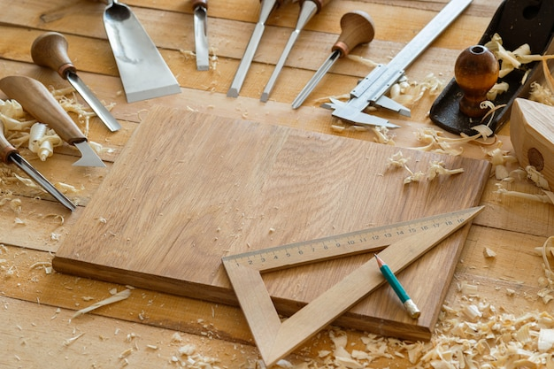 Carpentry chisels and wooden tools