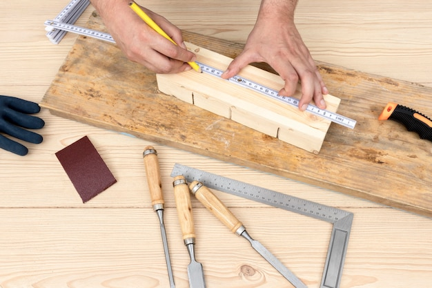 Carpentry concept ruler and pencil