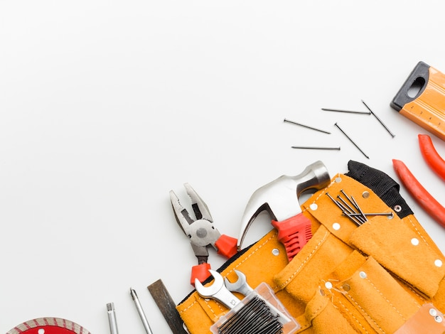 Carpentry implements on white background