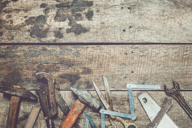 Carpentry industry flat lay concept on dirty grunge wooden background