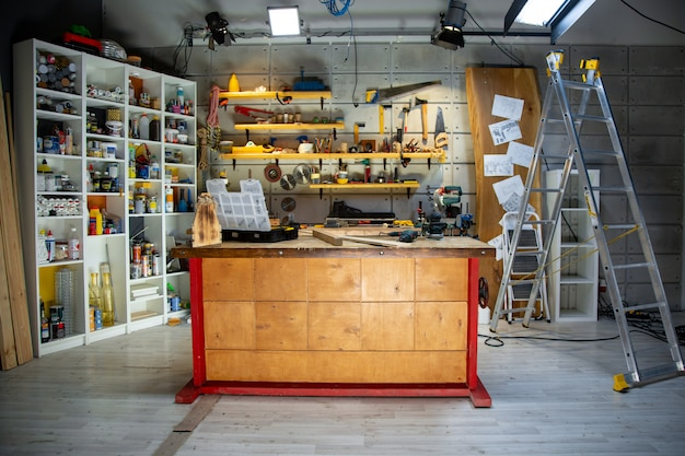Carpentry workshop equipped with the necessary tools