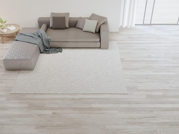 Ковер и диван у белой стены яркой гостиной в современном доме или квартире