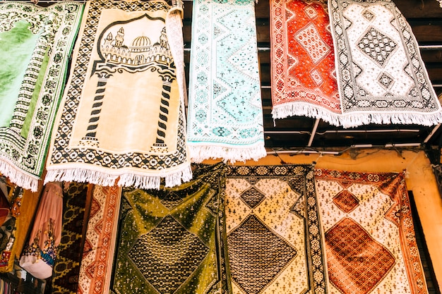 Carpets on market in morocco