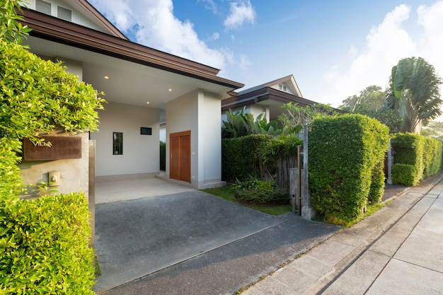 Carport of modern and luxury house