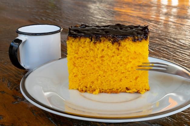 Carrot cake with chocolate. brazilian cake.