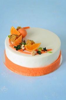 Carrot cake with spicy biscuit, carrot tangerine jelly and cheese mousse