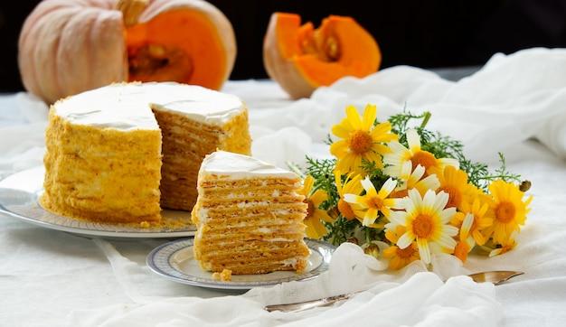 Carrot pumpkin cake for easter