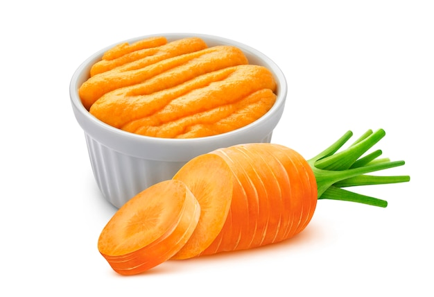 Carrot puree isolated on white with clipping path