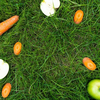 Carrots and apples scattered around in the grass top view