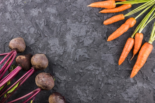 Carrots and beetroot background with copy space