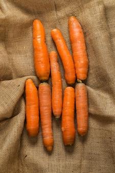 Carrots on blanket