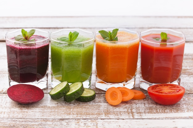 Carrots, cucumbers, beets, tomatoes and their juices