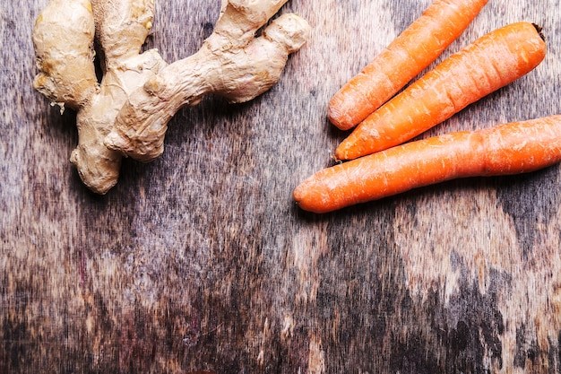 Carrots and ginger root