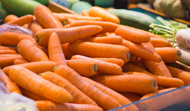 Carrots sold in the market.