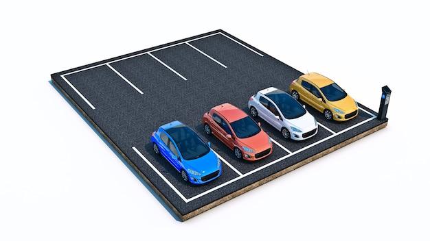 駐車場の車の3dレンダリング
