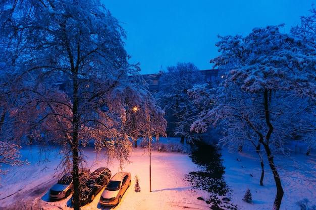Машины припаркованы во дворе под деревом, вокруг замерзает снег