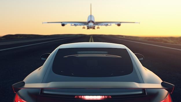 거리에 주차된 차들. 비행기가 위로 날고 있습니다.3d 렌더링 및 그림입니다.
