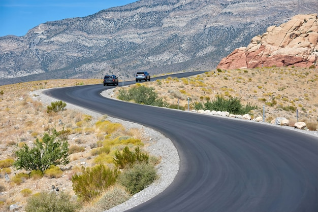 Cars on road in red rock canyon, nevada, usa