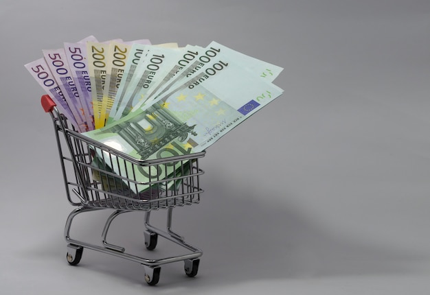 Cart with euro banknotes of various denominations