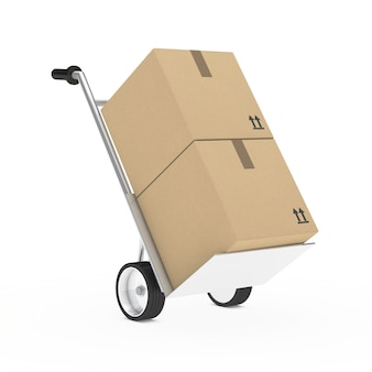 Cart with two cardboard boxes