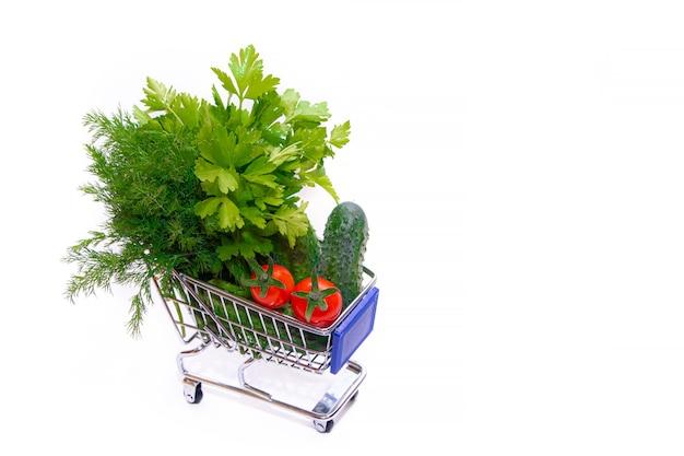 野菜とハーブの入ったカート