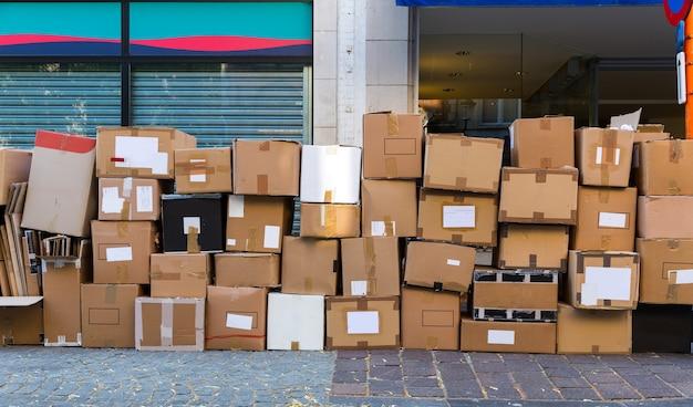Cartboard garbage boxes closeup, european city