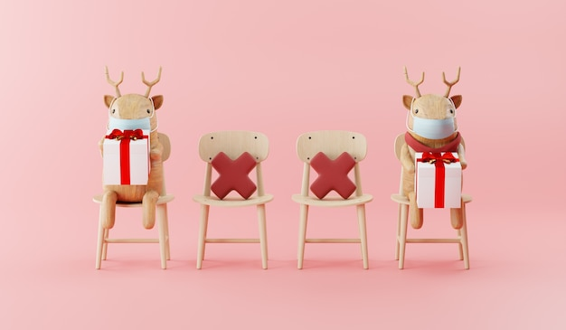 Cartoon 3d render of reindeer with christmas decorated concept new normal style