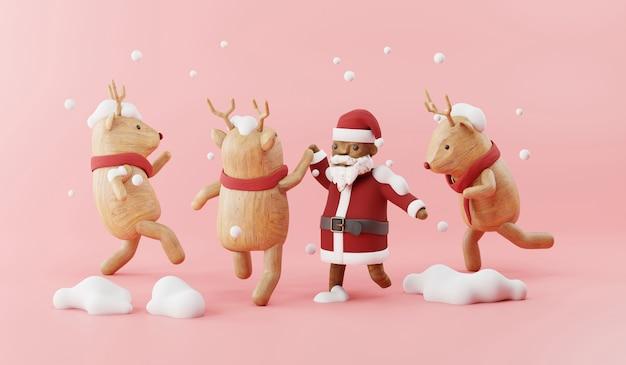 Cartoon 3d render of santa claus party with reindeer.