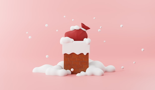 Cartoon 3d render of santa claus red bag on chimney