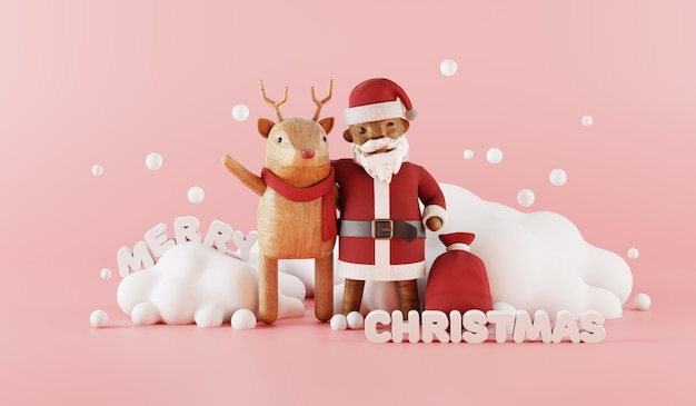 Cartoon 3d render of santa claus and reindeer with christmas decorated