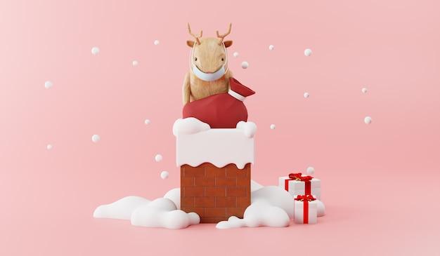Cartoon 3d render of wood reindeer with bag on chimney