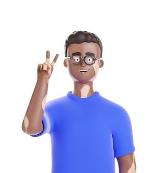 안경에 백반증 피부를 가진 만화 아프리카계 미국인 남자는 흰색 bg에 고립 된 승리를 보여줍니다.