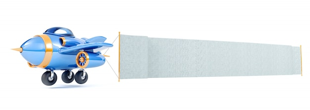 Cartoon airplane flying with long fabric banner