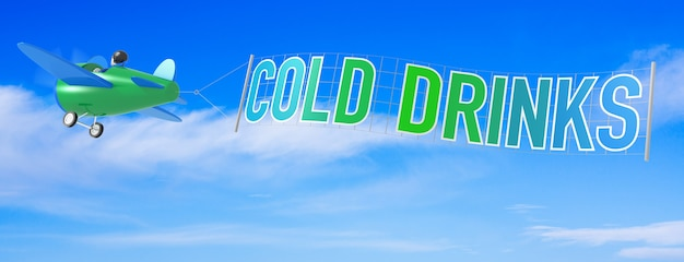 Cartoon airplanes with cold drink banner. 3d rendering
