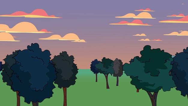 森と山、抽象的な背景と漫画のアニメーションの背景。漫画や子供のテーマの豪華でエレガントな3dイラスト