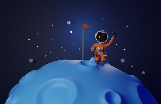 Мультяшный космонавт с флагом стоит на луне 3d рендеринг синего тона