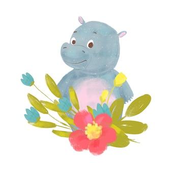 Cartoon baby hippo isolated
