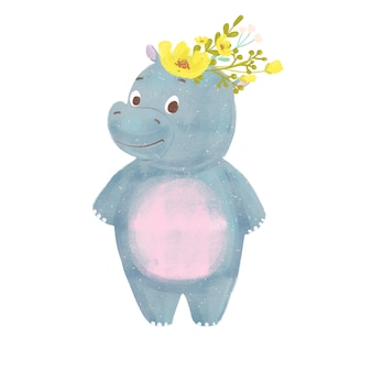 Cartoon baby hippo with wreath isolated