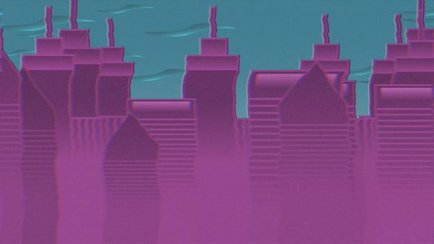 動きの雲や建物、抽象的な街並みの背景と漫画の背景。漫画や子供のテーマの豪華でエレガントな3dイラスト