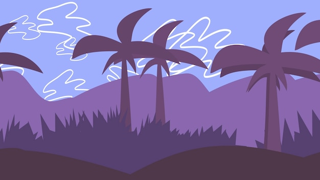 Cartoon background with palms in mountain, abstract backdrop. luxury and elegant 3d illustration of cartoon or kids theme
