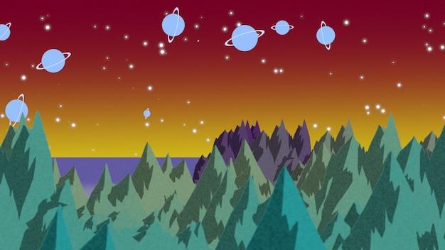 宇宙の惑星や山、抽象的な背景と漫画の背景。漫画や子供のテーマの豪華でエレガントな3dイラスト