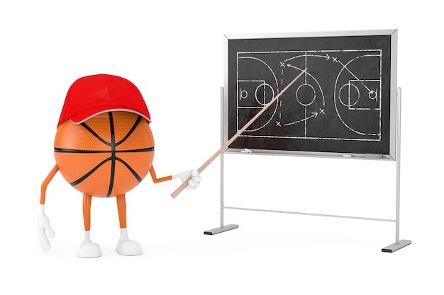 게임 전략 및 전술 계획이 있는 칠판 근처에 포인터가 있는 만화 농구 공 캐릭터