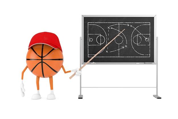 칠판 게임 전략 및 전술 계획 근처에 포인터와 함께 만화 농구 공 캐릭터