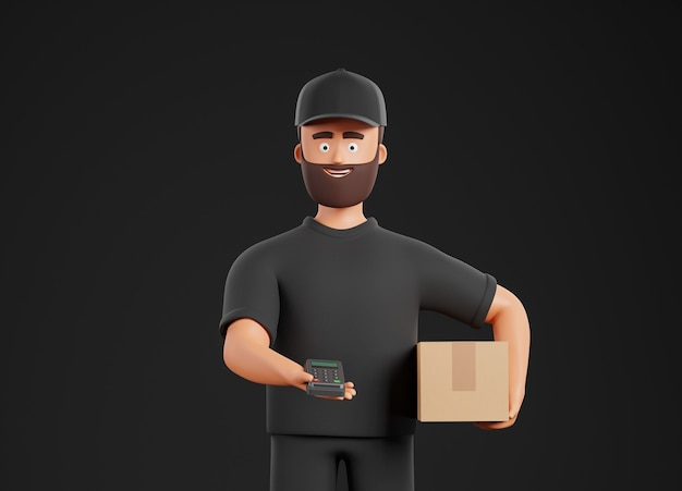 Cartoon beard character courier man in black form bring cardboard box and pos terminal over black background. online shopping and delivery concept. 3d render illustration.