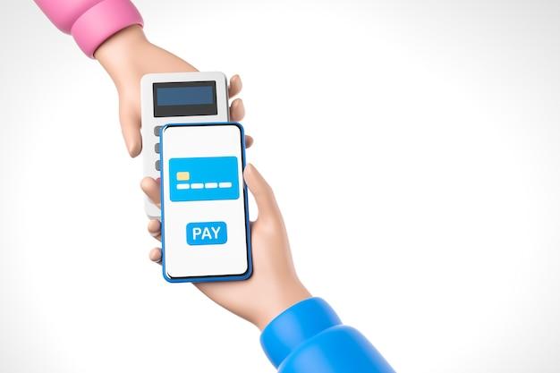 Мультяшный синий смартфон в руке розовая рука в руке pos-терминал платежная технология nfc