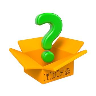 Коробка шаржа с зеленым знаком вопроса. изолированные на белом.