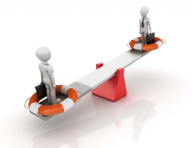 Cartoon business characters and life belt balancing on a seesaw