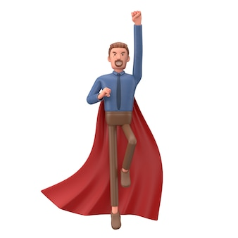 Cartoon business man clothed like a superhero. 3d illustration